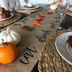 Calligraphy Thanksgiving Table Runner | Hand Lettered | Kraft Paper Table Runner...