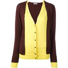 J.W.Anderson layered cardigan (227.600 HUF) via Polyvore featuring tops, cardigans, brown, merino wool tops, brown cardigan, merino cardigan, brown top and cardigan top