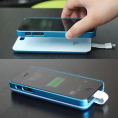 This is another example of good and smart design. The iPhone 5 Magnetic Battery Back Cover uses magnetic adsorption technology to add a battery to your iPhone Becomes a back cover for your iPhone too. Also can be used as an emergency battery for y Gadgets And Gizmos, Tech Gadgets, Cool Gadgets, Android Ou Iphone, Iphone 5s, Iphone Charger, Iphone Cases, Apple Iphone, Cool Technology