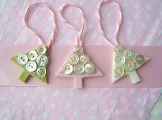 Christmas Tree Ornament Set of Three Mini Merino por paperandwhimsy