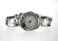 Handcrafted 925 Sterling Silver Watch Bracelet, Garnet, Unique Design by Amir Poran, Artistic Jewelry, Made In Israel