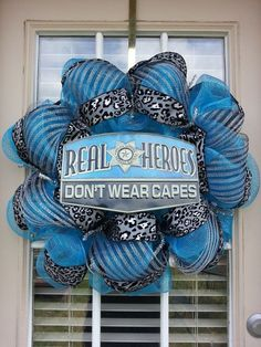 Police Officer Deco Mesh Wreath by SouthernBerryDesigns on Etsy, $55.00