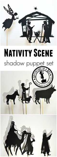 Nativity Shadow Puppet Set for Christmas - - Nativity Scene Shadow Puppets Set: Begin a new tradition this Christmas. Stage a shadow puppet play with kids! Christmas Nativity Scene, Preschool Christmas, Christmas Crafts For Kids, Christmas Activities, A Christmas Story, Christmas Stage, Nativity Scenes, Christmas Printables, Xmas