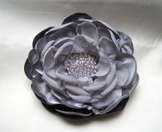 Beautiful Shades of Grey Satin and Chiffon Bridal Flower Hair