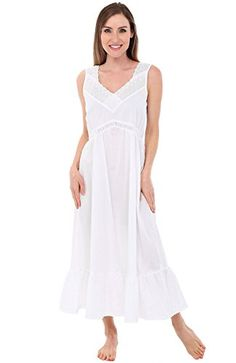b4440b6f21 Alexander Del Rossa Womens Mary Cotton Nightgown