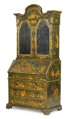 Collections- London 28 Oct 2014 Sale AN ITALIAN GREEN AND GILT-JAPANNED CHINOISERIE BUREAU CABINET, VENETIAN, CIRCA 1750 Est- £15000-25000 Lot 231
