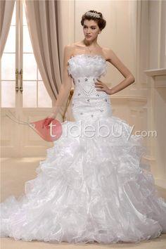 アメージングAラインストラップレス床まで届く長さチャペルウェディングドレス
