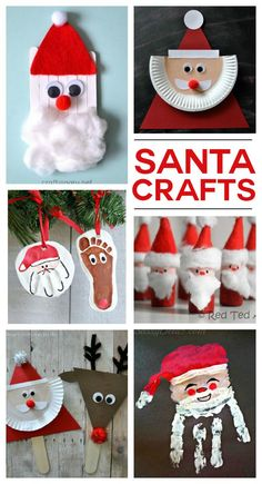 I found so many fun Santa crafts to try out this month. My kids are so excited about Santa and we love any reason to makes some crafts. If you're looking for some festive Santa crafts to make with your kids here are a bunch! 20 Fun Santa Crafts This adora Christmas Arts And Crafts, Preschool Christmas, Xmas Crafts, Christmas Projects, Kids Christmas, Christmas Decorations, Christmas Ornaments, Christmas Crafts For Kids To Make At School, Christmas Activities For Toddlers