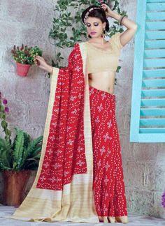 Auspicious Red Bhagalpuri Silk Casual Wear Printed Saree - Luxefashion Internet Inc