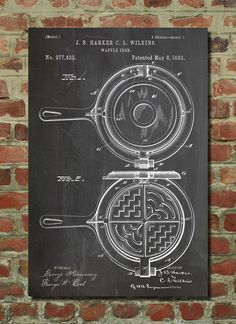 Waffle Iron Patent Poster, Kitchen Wall Art, Diner Decor, Restaurant Decor, Cook Gifts, PP209