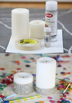 Candle doesn't melt past the glitter line and gets all weird and deformed above.