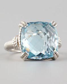 Cushion-Cut Blue Topaz Ring - Neiman Marcus. Judith Ripka ring $775