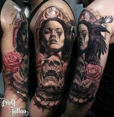 Scull raven girl  proki tattoo