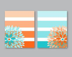 Items similar to Floral Bursts Big Stripes Art Prints, Ombre Style Modern Home Decor Set of 8 x 10 OR 11 x 14 sizes // Orange and Turquoise - Unframed on Etsy - Cute Canvas Paintings, Easy Canvas Art, Small Canvas Art, Mini Canvas Art, Easy Canvas Painting, Diy Canvas, Diy Painting, Canvas Wall Art, Tape Painting