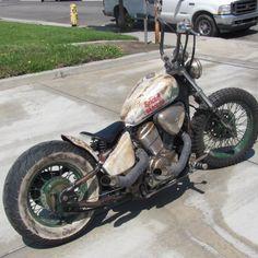 hannahnoah uploaded this image to 'Sinclair bike'. See the album on Photobucket. Honda Bobber, Honda Shadow Bobber, Bobber Bikes, Vintage Motorcycles, Custom Motorcycles, Rat Rod Motorcycle, 600 Honda, Rat Rod Girls, Car Girls