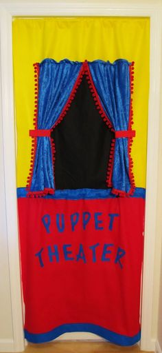Handmade puppet theatre. Portable. Hang it in doorway with tension rod. Busyasabeecreations on etsy.
