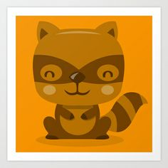 Woodland Creatures Raccoon Art Print by totallyjamie - $14.56