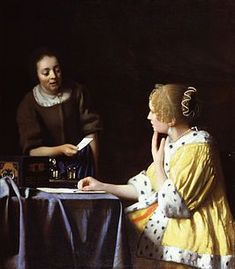 Johannes Vermeer Mistress and Maid oil painting for sale; Select your favorite Johannes Vermeer Mistress and Maid painting on canvas or frame at discount price. Johannes Vermeer, Vermeer Paintings, List Of Paintings, Oil Paintings, Amazing Paintings, Amazing Art, Dutch Golden Age, Art History, Dibujo