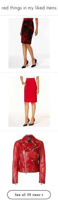 """""""red things in my liked items"""" by longforgottenkiss on Polyvore featuring skirts, fire red, floral printed skirt, flower print pencil skirt, red white skirt, white floral skirt, white skirt, kasper skirts, elastic waistband skirt and red knee length skirt"""
