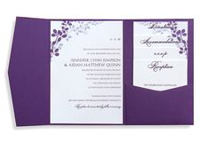 Pocket Wedding Invitation Template Set - Download Instantly - EDITABLE TEXT - Exquisite Vines (Eggplant & Silver)  - Microsoft Word Format