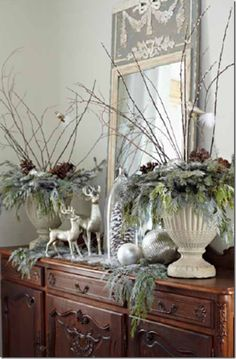 trumeau mirror and lovely urns