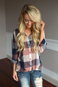 Fall Style: American Beauty Flannel ~ Peach