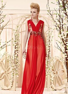 #Milanoo.com Ltd          #Ready to Wear Dresses    #V-Neck #A-line #Embroidered #Matte #Satin #Attractive #Prom #Dress           Red V-Neck A-line Embroidered Matte Satin Attractive Prom Dress                                         http://www.snaproduct.com/product.aspx?PID=5732823
