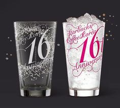 Starbucks Korea 16th Anniversary Limited Edition Glass Cup 2ea -> 1SET Gift Wrap #Starbucks