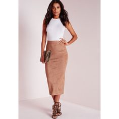 Missguided Longline Faux Suede Midi Skirt ($43) ❤ liked on Polyvore featuring skirts, camel, party skirts, missguided skirt, midi skirt, pink skirt y mid-calf skirt