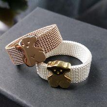 Anillos de acero inoxidable amante de las fiestas de anillo oso acoplamiento de la buena calidad oso anillos titanium unisex joyería mujeres y hombres anillo lindo oso(China (Mainland))