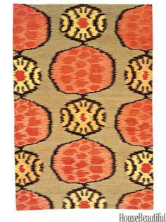 Abstract flower rug from stephanieodegard.com. housebeautiful.com. #ikat #flower #abstract #rug