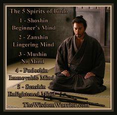 Bushido - 5 Spirits of Budo Warrior Spirit, Warrior Quotes, Samurai Quotes, Bushido, Martial Arts Quotes, Japanese Philosophy, Bruce Lee Quotes, Ju Jitsu, Martial Arts Techniques
