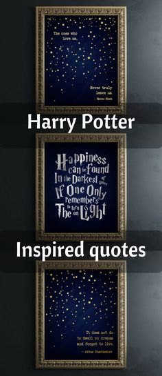 I love the dark blue and simple elegance of these prints..they are quite stunning Harry Potter Quotes - Harry Potter Wall Art, Silver Foil Print, Harry Potter Decor, Dumbledore Quotes, Happiness Can Be Found in the Darkest #ad #etsy #harrypotterr