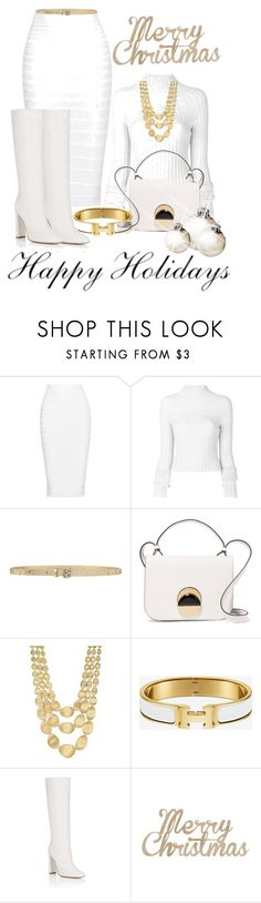 """""""White Christmas"""" by shamrockclover ❤ liked on Polyvore featuring Cushnie Et Ochs, Helmut Lang, Orciani, Marni, Marco Bicego, Gianvito Rossi and Kaiser"""