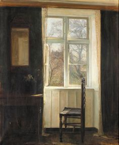 Carl Vilhelm Holsøe (Danish, 1863–1935), The Open Window. Oil on canvas.  La-clef-des-cœurs