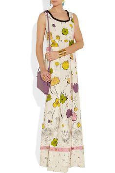 Marni Scratchy Cat printed cotton maxi dress