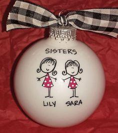 Artículos similares a Sisters Ornament , Christmas Ornament, Sister Gift, Holiday Ornament for Sister, Personalized Sister Gift, Keepsake Ornament, Personalized en Etsy