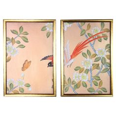 Rose Gold Silk Chinoiserie Wallpaper Diptych Paintings - 2 Pieces For Sale Silk Wallpaper, Chinoiserie Wallpaper, Wallpaper Samples, Buy Roses, Gold Silk, Silk Painting, Asian Art, Wood Art, Vintage Art
