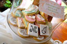 wedding sugar cookies in pastels