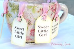 Baby Shower Tag Shabby Chic Hang Tags Ivory Tag  by PennyLine, $6.00