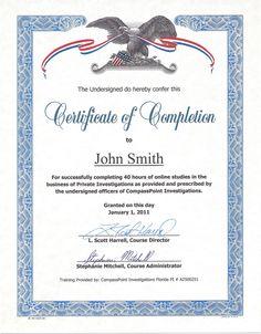 Private Investigator School Training Certificate of Completion