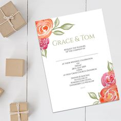 This is one of my fave invitations so far. Hand-painted watercolour flowers 🌹🖌🌿🌸 with a little nod to the Pantone colour of the year 2019 - coral! Is anyone going for this colour scheme for their wedding? Wedding Invitation Size, Flower Invitation, Luxury Wedding Invitations, Watercolor Wedding Invitations, Wedding Stationery, Invite, Green Theme, Pastel Flowers