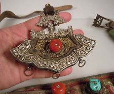 Antique Tibet Belt Pouch Leather, Silver, Brass, Turquoise, Coral / Amber Beads