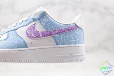 Nike Air Force 1 Blue Paint Splatte Purple Air Force 1, Nike Air Force, Air Force Sneakers, Sneakers Nike, Purple, Blue, Shoes, Fashion, Nike Tennis
