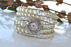 Hey, I found this really awesome Etsy listing at https://www.etsy.com/listing/221472426/crystal-flower-pearl-wrap-watch