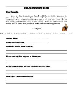 Pack of materials designed for use in the primary grades during parent-teacher conferences, which includes a pre-conference form to get input from parents before a conference, a parent-teacher conference plan to help guide conferences, and a self-evaluation form suitable for early elementary students to fill out to assess themselves on important school behaviors.
