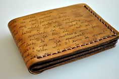 Custom personalized mens leather wallet, bifold, hand painted, real genuine leather on Etsy, Sold