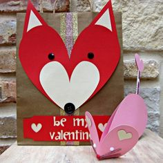 cute animal Valentines using heart shapes...the adorable mouse, and the fox tote bag