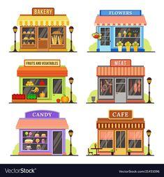 Buy Flat Store Modern Shops by tartila on GraphicRiver. Modern shop, boutique shopfront and restaurant building facade design of cafe, flower boutique. Shop House Plans, Shop Plans, Roshe Run, Urban Stores, Vintage Clothing Styles, Dressing Design, Design Nike, Glam Look, Design Food