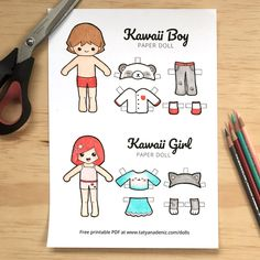 Crush rainy day boredom with FREE printable kawaii paper dolls and colouring pages.